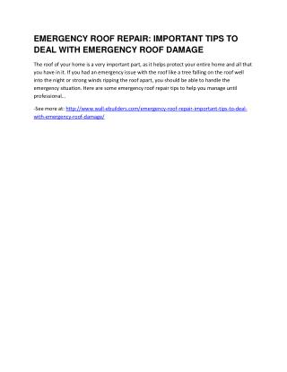 Emergency Roof Repair: Important Tips To Deal With Emergency Roof Damage