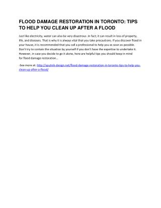 Flood Damage Restoration in Toronto: Tips to Help You Clean Up After a Flood