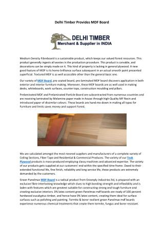 Delhi Timber Provides MDF Board