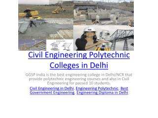 Civil Engineering Polytechnic Colleges in Delhi