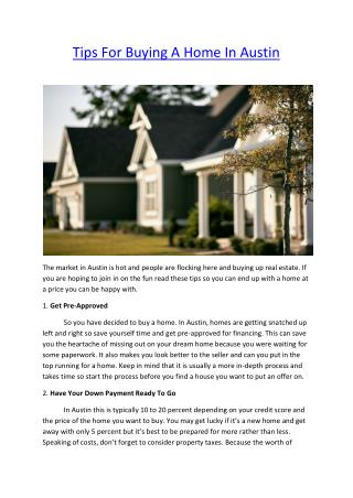 Tips For Buying A Home In Austin