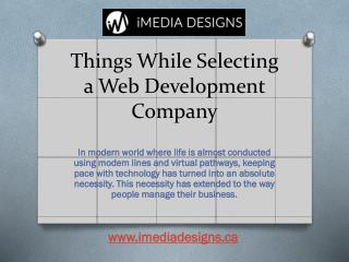 Things While Selecting a Web Development Company