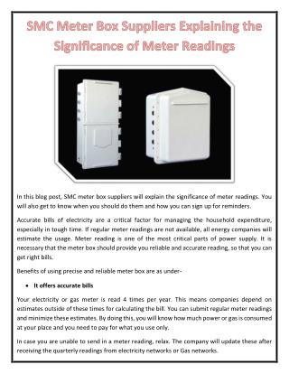 SMC Meter Box Suppliers Explaining the Significance of Meter Readings