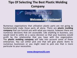 Tips of selecting the best plastic molding company