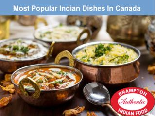 Most Popular Indian Dishes in Canada