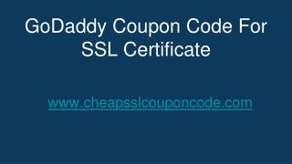 GoDaddy Coupon Code For SSL Certificates