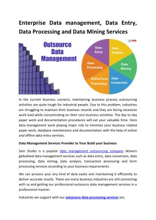 Enterprise Data management, Data Entry, Data Processing and Data Mining Services