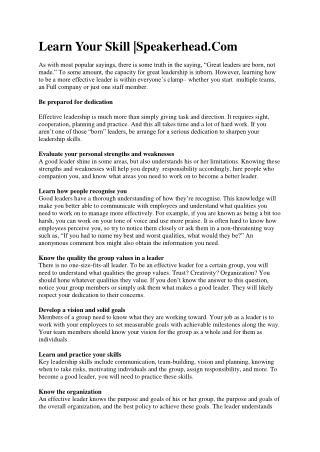effective leadership by Speakerhead.com