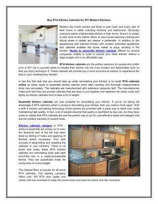 Buy RTA Kitchen Cabinets for DIY Modern Kitchens