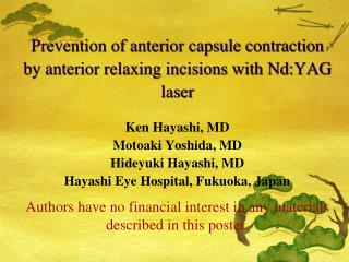 Prevention of anterior capsule contraction by anterior relaxing incisions with Nd:YAG laser