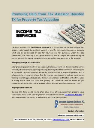 Promising Help from Tax Assessor Houston TX for Property Tax Valuation