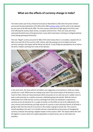 What are the effects of currency change in India