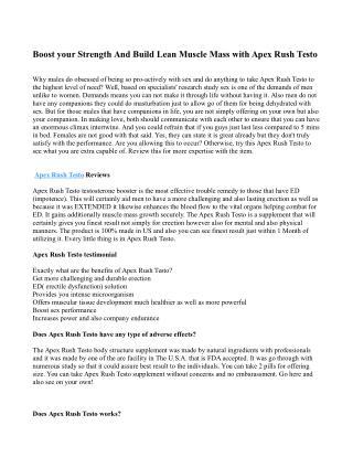 The Advantages of Apex Rush Testo Testo