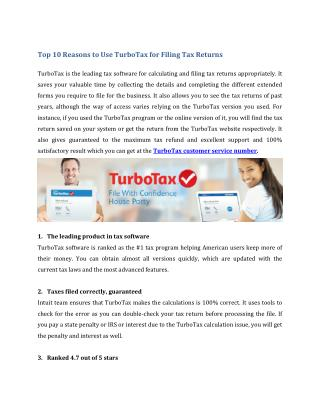 Top 10 Reasons to Use TurboTax for Filing Tax Returns