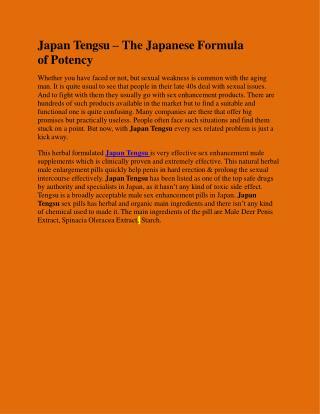 Japan Tengsu – The Japanese Formula of Potency