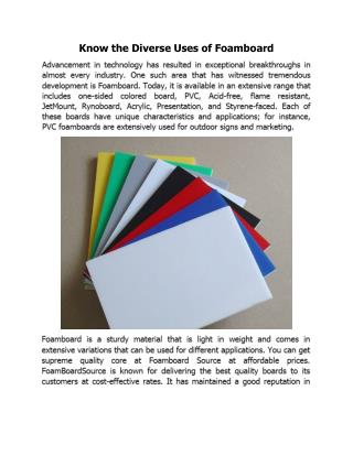 Know the Diverse Uses of Foamboard