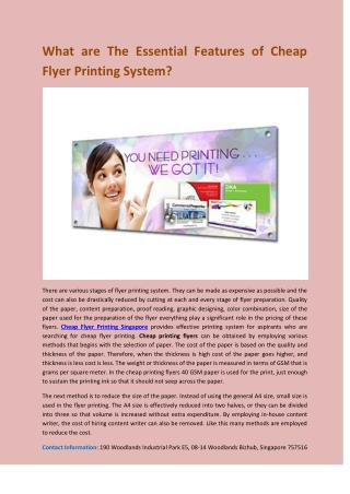What are The Essential Features of Cheap Flyer Printing System