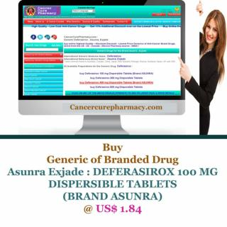 Buy Asunra Exjade - DEFERASIROX 100 MG DISPERSIBLE TABLETS @ US$ 1.84