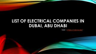Find list of Electrical Companies In Dubai, Abu Dhabi