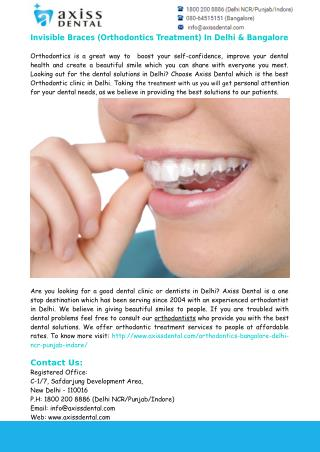 Invisible Braces (Orthodontics Treatment) In Delhi & Bangalore