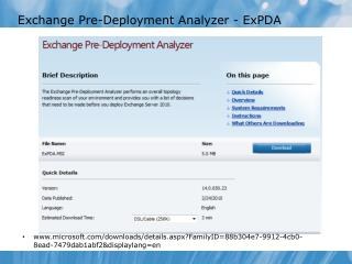 Exchange Pre-Deployment Analyzer - ExPDA