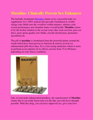 Maxidus- Clinically Proven Sex Enhancer