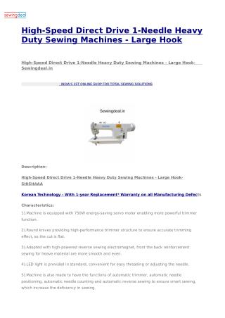 High-Speed Direct Drive 1-Needle Heavy Duty Sewing Machines - Large Hook