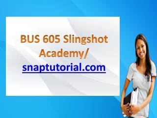 BUS 605 Slingshot Academy / snaptutorial.com