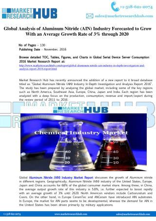 Global Analysis of Aluminum Nitride (AIN) Industry