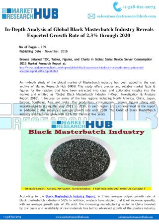 Global Black Masterbatch Industry Expected Growth Rate of 2.3% through 2020