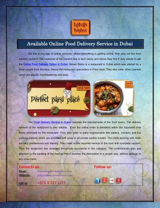 Available Online Food Delivery Service in Dubai