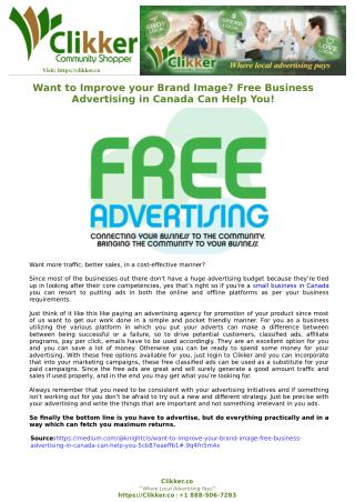 Want to Improve your Brand Image? Free Business Advertising in Canada Can Help You!