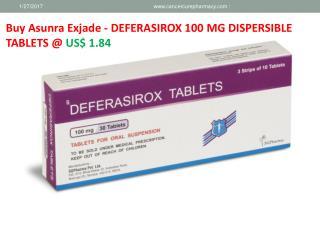 Buy (BRAND ASUNRA) - Asunra Exjade - DEFERASIROX 100 MG @ US$ 1.84