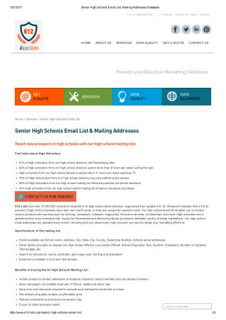 senior high schools email database in USA