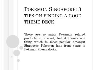 Pokemon Singapore: 3 tips on finding a good theme deck