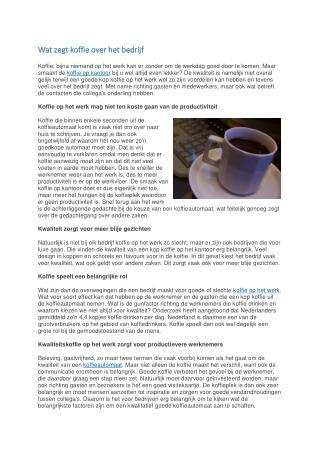 Wat zegt koffie over het bedrijf