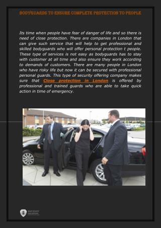 Close Protection in London