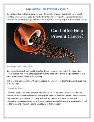 Can Coffee Help Prevent Cancer?