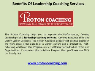 Benefits of leadership coaching services