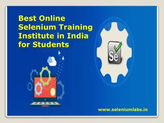 Best Online Selenium Training Institute in India for Students