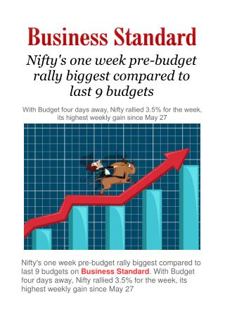 Nifty's one week pre-budget rally biggest compared to last 9 budgets