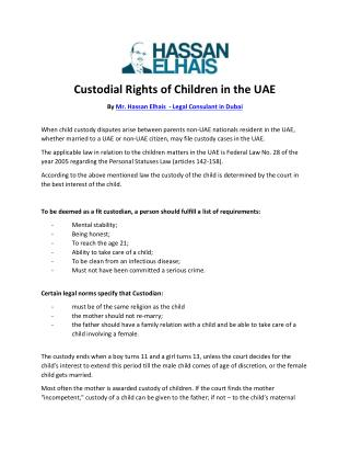 Custodial Rights of Children in the UAE