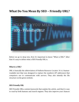 What Do You Mean By SEO – Friendly URL?