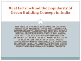Real facts behind the popularity of green building concept in India