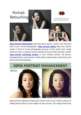Sepia Portrait Retouching Services - Portrait Enhancement Services to Photographers