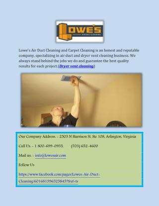 Lowe's Dryer vent cleaning Services