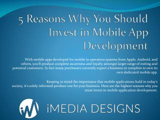 5 Reasons Why You Should Invest in Mobile App Development