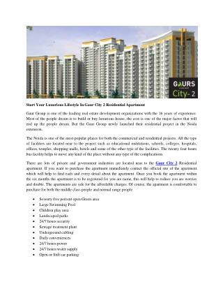 Start Your Luxurious Lifestyle In Gaur City 2 Residential Apartment