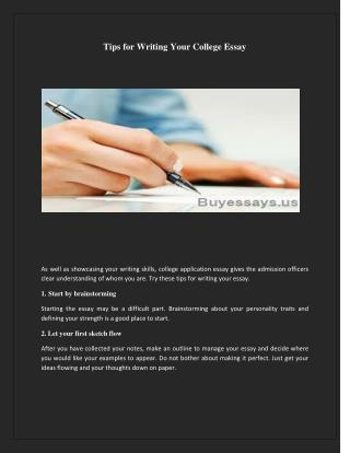 Tips for writing your college essay