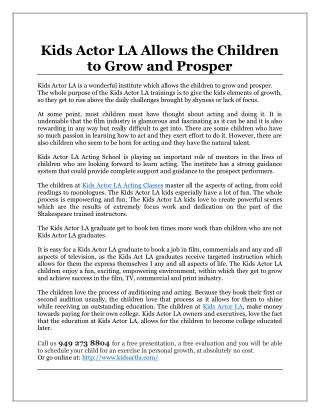 Kids Actor LA Allows the Children to Grow and Prosper